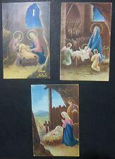 Lot 3 Postcards-Christmas-Merry Christmas-crib - 1951-58