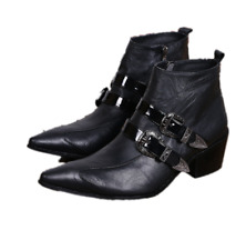 Men Buckle Strap Punk Pointy Toe Block Heel Ankle Boots Stylish Zip Shoe Plus L
