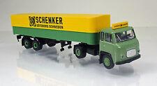 "Brekina 85152 SCANIA-VABIS LB 76 PICK-UP/bâche-Semi-remorque ""Schenker"""