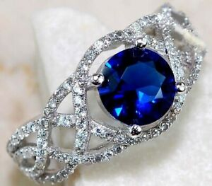 2CT Blue Sapphire & White Topaz 925 Sterling Silver Ring Jewelry Sz 6, M4
