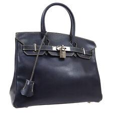 HERMES BIRKIN 30 Hand Bag □E 5 Navy Graine Lisse Vintage NR15247