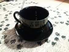 Vintage Set of 4 S.H.I. JAPAN Large Black Mug & Saucer