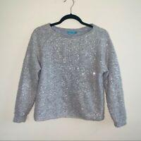 Alice + Olivia Gray Sequins Crewneck Sweater Size XS GUC
