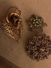 Gold Color Pin Broches With Rhinestones Set Of 3