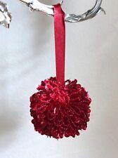 Modern Christmas Tree Ornament Holiday Wedding Beaded Ball LED Decoration Red