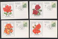"1979, RSA ""Rosafari"" set of 4 value cards of various roses illustrated FDCs."