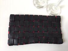 Asos Black Leather Weaved Clutch Bag Hand Bag Purse