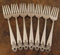 Oneida Distinction 7 Salad Forks Prestige Vintage Silverplate Flatware Lot C