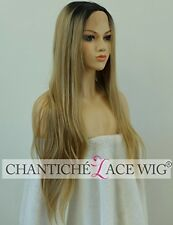 Chantiche Real Looking Ombre Brown Dark Roots Long Straight Synthetic Lace Wigs