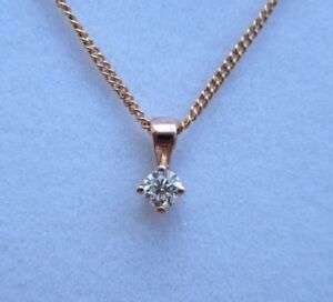 New Diamond Solitaire 9ct Rose Gold Pendant Necklace & Gold Chain £175 Freepost