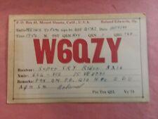 New listing Mount Shasta, California- Roland Edwards- W6Qzy- 1940- Qsl