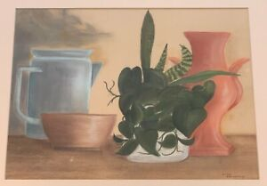 Vintage 60s 70s Still Life Painting Art Wall Hanging Mid Century Modern Signed