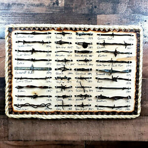 Antique Barbed Wire Display 36 cut's Authentic Barbwire Collection