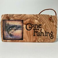 Gone Fishing Sign Hand Crafted of Cinnabar Stone Wall Plaque Made In Arizona