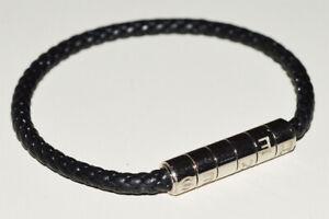 Hermes mens Goliath Code Black Leather with Black reserve Rubber Bracelet