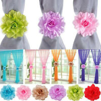 2PC Window Curtain Tieback Clip-on Peony Flower Tie Holder Drape Xmas Exquisite