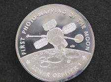 1970s Lunar Orbiter I Silver Art Medal Franklin Mint America in Space D8710