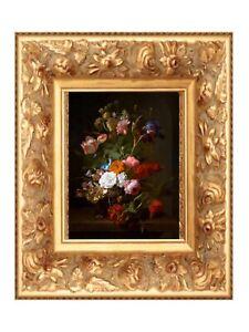 A4 Print of Original oil painting art vintage floral grey pink European art