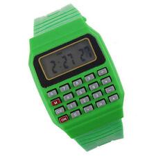 Retro Digital Math Nerd Geek Calculator Green Silicone Rubber Unisex Wrist Watch
