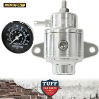 Aeroflow Polished Compact 800hp EFI Fuel Pressure Regulator 30-90psi + Gauge -6