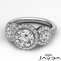 Huge Round Cut Diamond Engagement Three 3 Stone Ring GIA H SI1 Platinum 1.85 ct