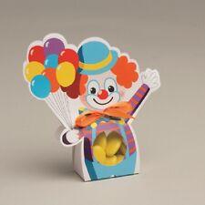Lot de 10 boites à dragées ballotin+ruban Clown baptême avec etui transparent
