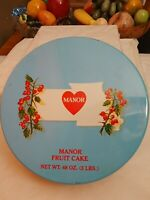 Fruit Cake Tin Manor Baking Co Kansas City MO Midwest History Deco Blue Lid