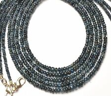 """Natural Gem Blue Sapphire 3 to 4MM Smooth Rondelle Beads Necklace 17"""""""