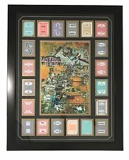 OLD VEGAS CARTOON MAP W/ 20 PLAYING CARDS COLLAGE FRAMED #D/100
