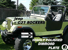 Jeep CJ7 Highly Polished Aluminum Diamond Plate Side ROCKER PANEL Set  6'' Wide