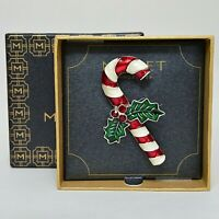 Monet Enameled Candy Cane Christmas Pin Brooch Signed IOB