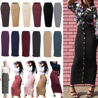 Muslim Thick Skirt Vintage Slim High Waist Stretch Long Maxi Women Pencil Skirt