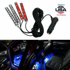 4x Ice Blue 9 LED Charger Interior Light Accessories Car SUV Floor Decor Set US