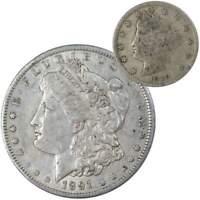 1891 O Morgan Dollar VF Very Fine 90% Silver with 1910 Liberty Nickel G Good