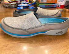 Chaco Women's 10 Quinn Sandstone Gray/Aqua Backless Slip On MuleShoes Tan Blue