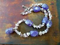 Beautiful Vintage Natural Amethyst bead & Pendant necklace string Peace & calm