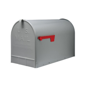 GIBRALTAR Extra Large Mailbox Post Mount Jumbo Capacity Galvanized Steel Gray