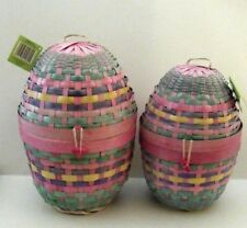 Woven Wicker Easter Basket Egg Shaped Multi-Color Gift Container 2-Piece Set Nwt