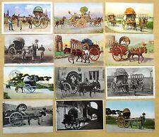 12 Vintage Postcards all Carro da Vino Wine Cart & Horse Costumi Roma Rome Italy