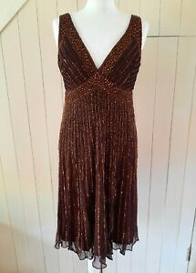 PATRA BROWN SILK BEADED GATSBY DOWNTON DECO FIT & FLARE dress 12 40 US 8 NEW