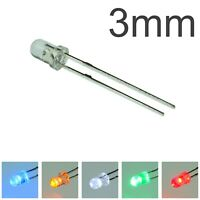 3mm Clear LEDs Pack of 100 - Red, Green, Blue, Amber, White