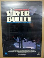 1985 Stephen King's Silver Bullet VHS Release Poster 23x32 Cycle of the Werewolf
