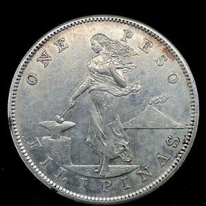 PHILIPPINES 1903 ONE PESO SILVER COIN  LIGHTLY CIRCULATED.