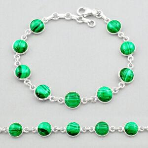 925 Silver 25.18cts Natural Malachite (pilot's Stone) Tennis Bracelet T26433