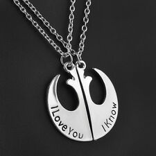 Movie Star Wars Rebel Badge I Love You I Know Lover Couple Pendant Necklace Gift