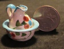 Dollhouse Miniature (1) Mexican Pitcher & Basin 1:12 Bathing #TC406 TURQUOISE