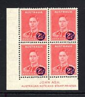 "1941 **MUH** WAR TAX"" 2.5d Scarlet - SURCHARGE OFF-SET - BLOCK of 4 with ASH Imp"