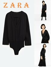 ZARA Black Poplin Bodysuit Long Sleeve Button Cuff New With Tag Bodysuit Size M