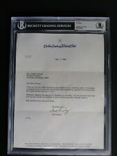 TOM LANDRY SIGNED 1989 DALLAS COWBOYS LETTER BECKETT (BAS) CERTIFIED AUTOGRAPH