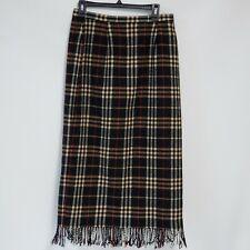 Vintage Black Tan Tartan Plaid Skirt Wool Blend Modest long sz 10 lined fringe
